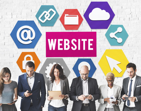 Business people with website concept Stock Photo