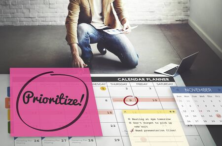 prioritize: Prioritize Effectivity Importance Tasks Urgency Concept Stock Photo