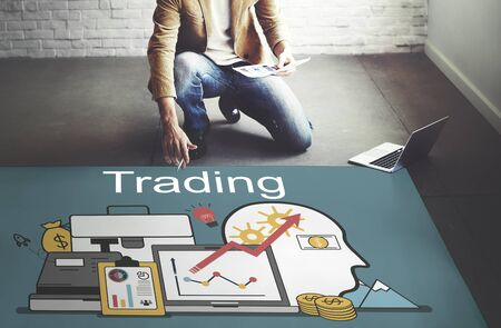trading floor: Trading Accounting Finance Auditing Money Banking Concept Stock Photo