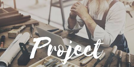 crafting: Man Working Crafting Project Design Concept