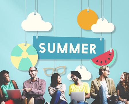 summertime: Summer Beach Holiday Vacation Summertime Concept