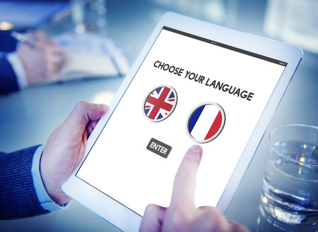 language dictionary: Language Dictionary English French Concept Stock Photo