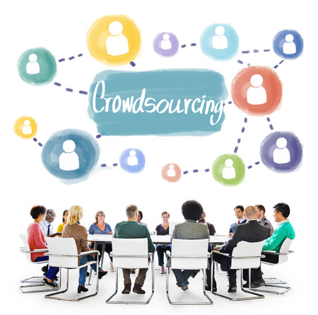 crowdsource: Crowdsourcing Collaboration Information Content Concept Stock Photo