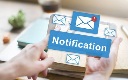 information point: Notification Alert Digital Icon Internet Network Concept Stock Photo