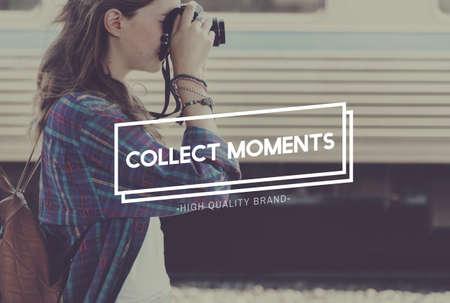 cobrar: Recoger capturar momentos no cosas concepto de la experiencia Foto de archivo