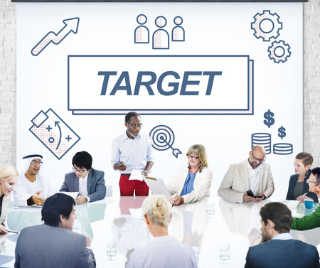 reach customers: Target Accomplished Reached Goals Graphic Concept Stock Photo