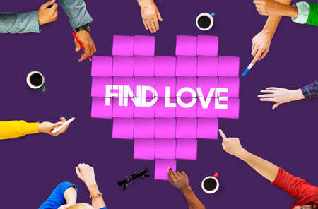 dating strategy: Find Love Heart Technology Graphic Concept