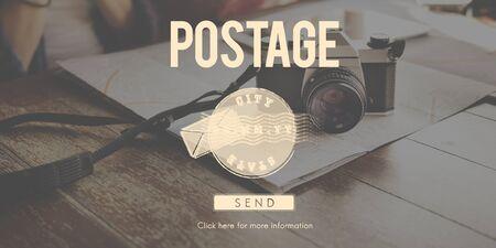 postal: Postal Post Delivery Stamp Graphic Concept