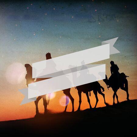 three kings: Three Kings Desert Star of Bethlehem Nativity Concept