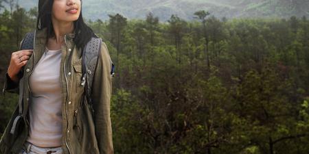 wanderlust: Backpacker Camping Trekking Wanderlust Leisure Concept