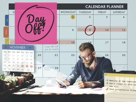 off day: Day Off Free Time Relax Vacation Holiday Schedule Concept