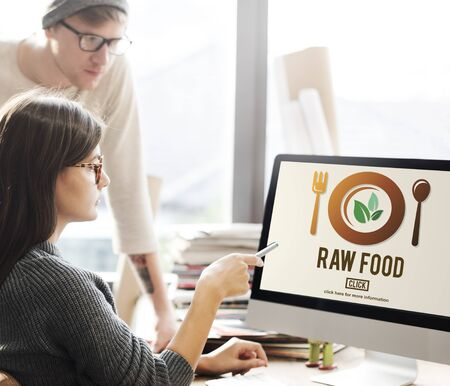 pointing herb: Raw Food Eating Healthy Lifestyle Concept Stock Photo