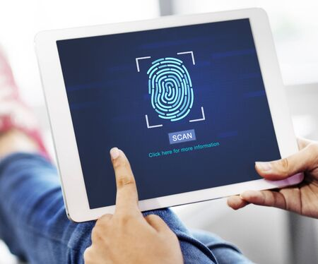 identify: Fingerprint Scan Biometrics Identify Authorization Concept