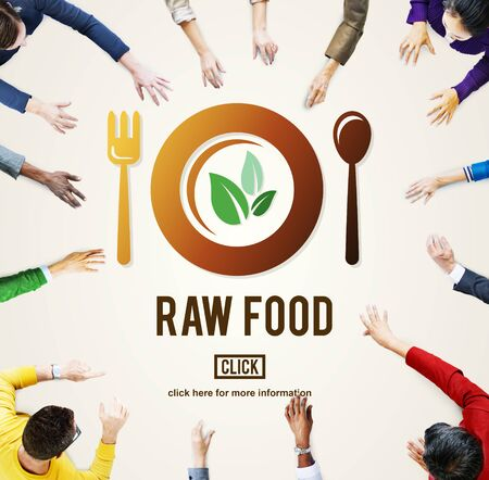 raw food: Raw Food Eating Healthy Lifestyle Concept Stock Photo