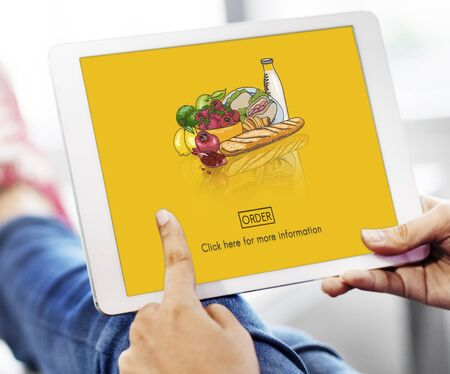 food shop: Food Products Order Online Delivery Concept Stock Photo