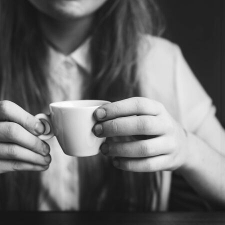 caffeine: Girl Coffee Caffeine Cheerful Relaxation Cup Mug Concept Stock Photo