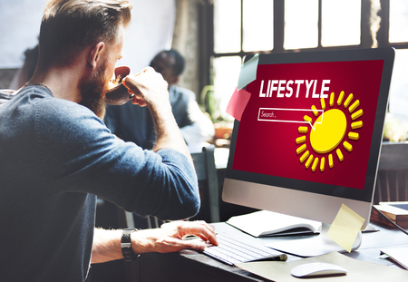 Man at work with lifestyle internet search Stock Photo