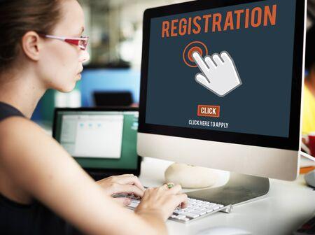 registro: Register Registration Enter Apply Membership Concept Foto de archivo