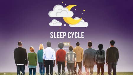 standing up: Sleep Cycle Awake REM Rapid Eye Movement Dream Relaxation Concept
