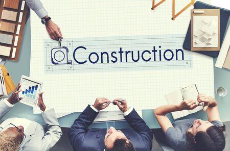 executive helmet: Construction Engineering Equipment Industrial Concept Stock Photo