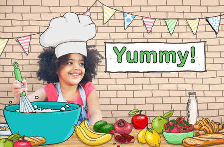 little chef: Yummy Delicious Cooking Little Kid Chef Concept