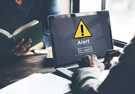 website window: Alert Warning Notification Hack Signal Concept