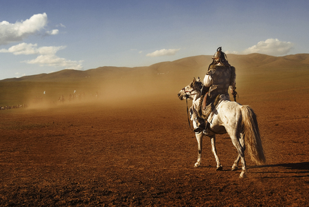 independent mongolia: Lone Man Staring At The Crowd Of Soldiers From Afar Concept Stock Photo