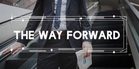 onward: Forward Ahead Aim Aspiration Determination Concept Stock Photo