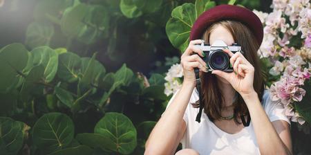 camera girl: Girl Woman Camera Casual Photograph Photo Concept Stock Photo
