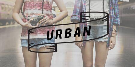 urban apartment: Urban Apartment Brick Cityscape Street Traffic Concept Stock Photo