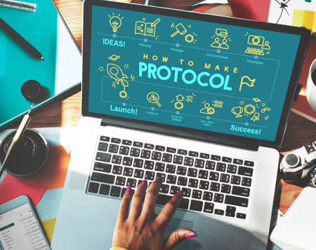 proper: Protocol Networking Data Proper Protection Safety Concept Stock Photo