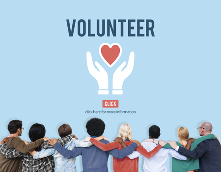 huddle: Volunteer Helping Hands Heart Icon Concept.