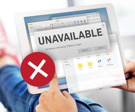 find fault: Unavailable Unable Connect Notification Concept