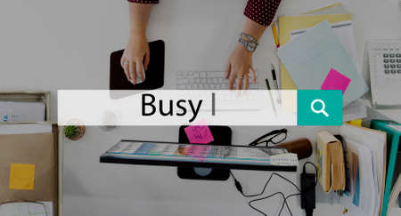 hardworking: Busy Multitasking Occupied Unavailable Hardworking Concept Stock Photo