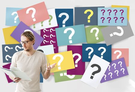Question Mark Asking Curious Confuse Riddle Puzzle Concept Stock Photo