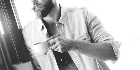 lean out: Man Hipster Coffee Break Casual Vision Planning Strategy Concept Stock Photo