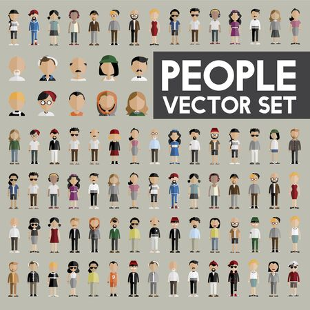 bob: Diversity Community People Flat Design Icons Concept