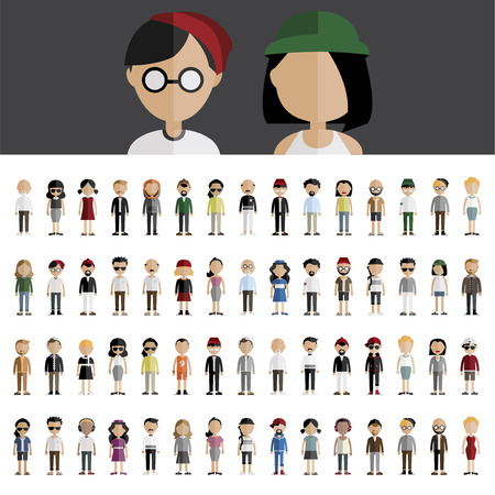 young group: Diversity Community People Flat Design Icons Concept