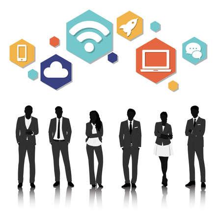 unrecognizable: Vector UI Illustration Business People Concept