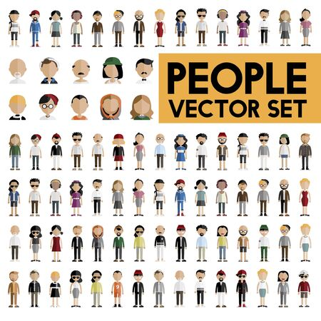 Diversità Comunità Persone piatto Design Icons Concetto Vettoriali