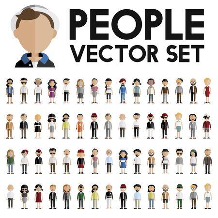 community people: Diversity Community People Flat Design Icons Concept