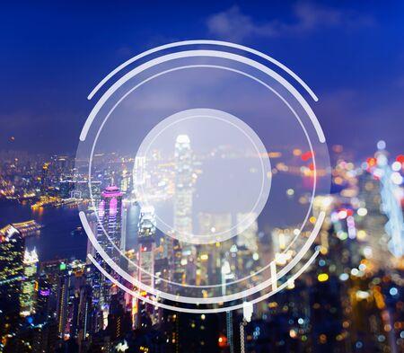 hong kong night: Camera Lens Image Photography Graphic Concept