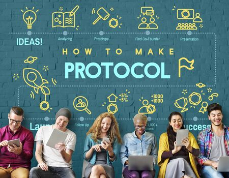 digital data: Protocol Networking Data Proper Protection Safety Concept Stock Photo