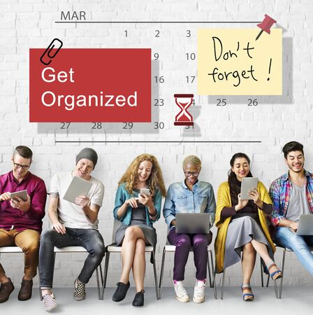 management concept: Get Organized Planner Calendar Management Concept