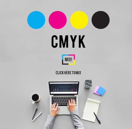 color key: CMYK Cyan Magenta Yellow Key Color Printing Process Concept