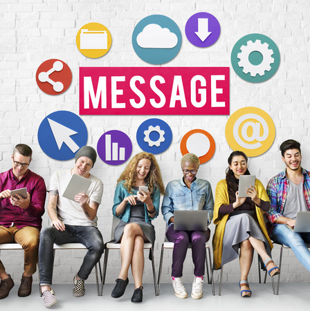 People using electronic gadgets with message concept Banco de Imagens