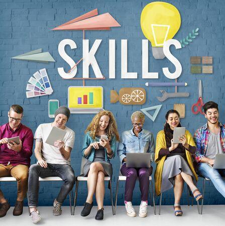 skills diversity: Skills Ability Talent Expertise Performance Intelligence Concept