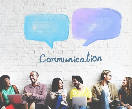 asian ethnicity: Speech Bubble Communication Conversation Technology Concept Stock Photo