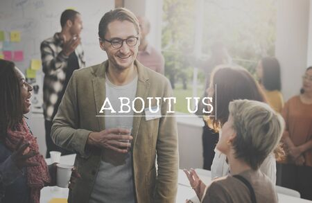 about us: About us Information Profile Service Concept Stock Photo