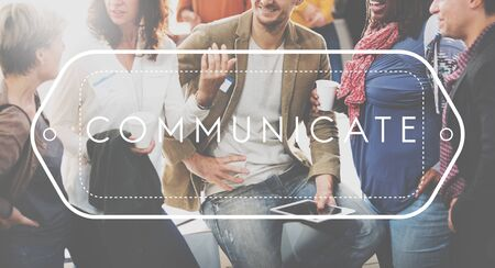 communicate: Communication Communicate Discussion Conversation Concept Stock Photo